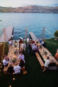 mariage soirée étendue d'eau